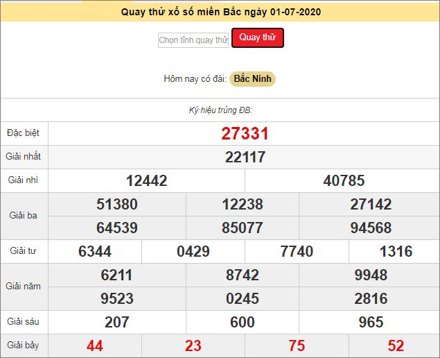 Kết quả quay thử XSKTMB - Xổ số Bắc Ninhngày 1/7/2020 thứ 4