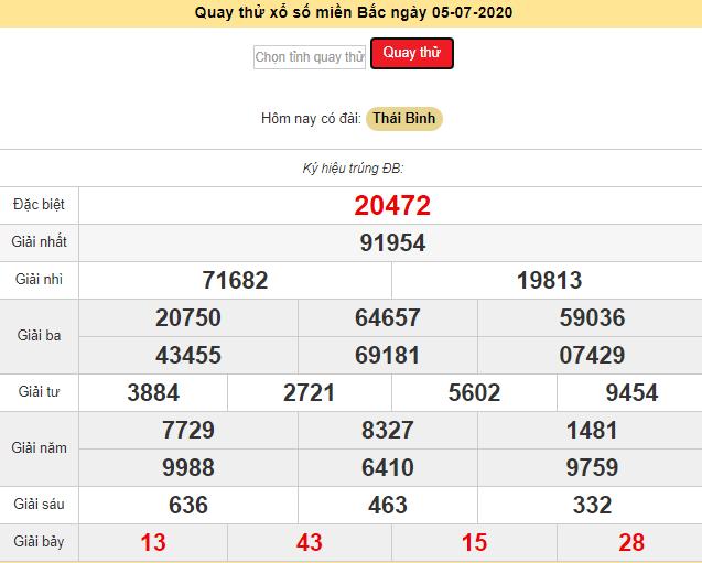 Kết quả quay thử XSKTMB - Xổ số Thái Bìnhngày 5/7/2020 chủ nhật